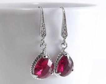 SUMMER SALE Fuchsia Glass Pendant Silver Teardrop Earrings