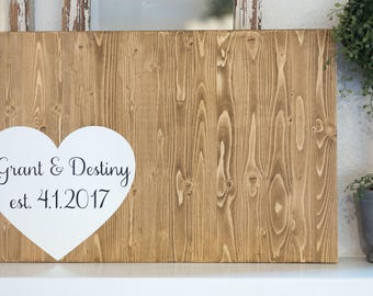 Wedding guest book hand painted wood sign, Wedding guest book alternative with wrap around heart. Guestbook
