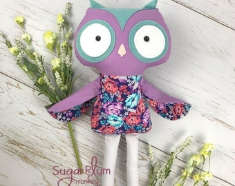 READY TO SHIP Cloth Owl- Fabric Doll - Dress Up Doll - Handmade Doll - Rag Doll - Room Decor - Heirloom Doll