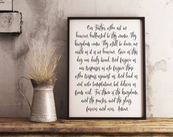 Lord's Prayer print, Our Father who art in Heaven, Scripture art, Bible Verse sign, Christian Decor, The Lords Prayer sign, Matthew 6:9-13