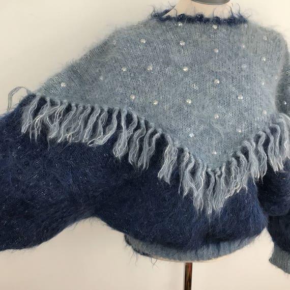 Vintage sweater mohair jumper mohair blue tasselled fluffy nu wave 1980s avant garde beaded top knitted knitting fringed festival M L