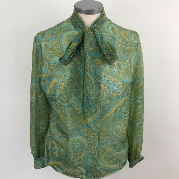 1970s shirt Mod blouse nylon sheer long sleeves paisley print top green turquoise scooter girl top UK 12 14 vintage pissy bow neck tie