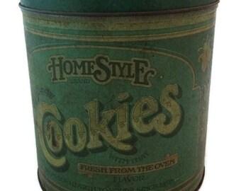 Vintage Cookie Storage Tin, kitchen tin, storage tin, advertising tin, rustic decor, farmhouse kitchen