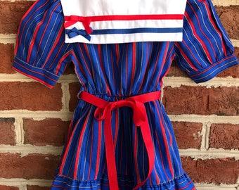 Fourth of July Dress: Patriotic Girls Dress, July 4th Girls Dress, Vintage Girls Size 5, Red White Blue Dress, 60s girls dress