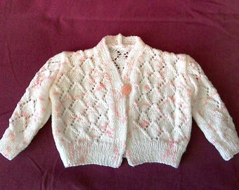 baby 6 months pink and white vest + baby shoes is hand - knits-lili