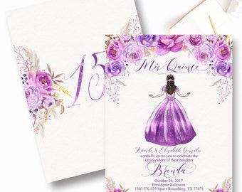 Purple Quinceanera Invitation, Mis Quince, Lavendar, Lilac, Sweet Sixteen, Lavender Quinceanera, Sweet Fifteen