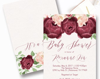 Burgundy Floral Baby Shower Invitation, Fall Baby Shower Invite, Rustic Floral Baby Shower Invite