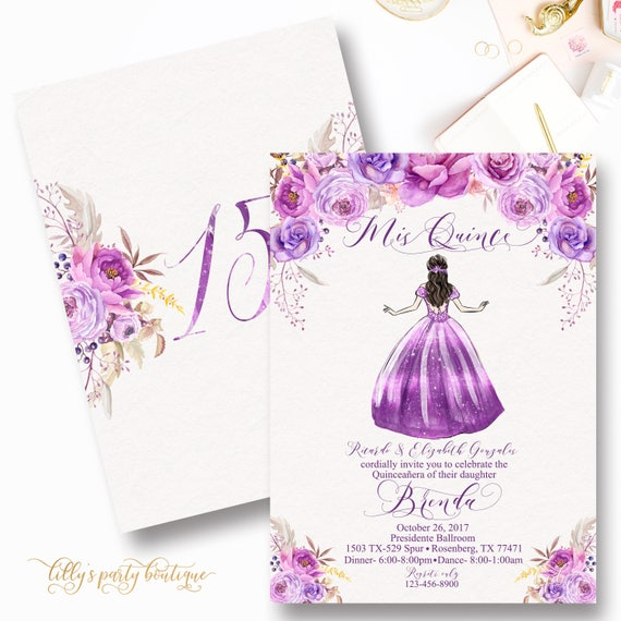purple quinceanera invitation mis quince lavendar lilac