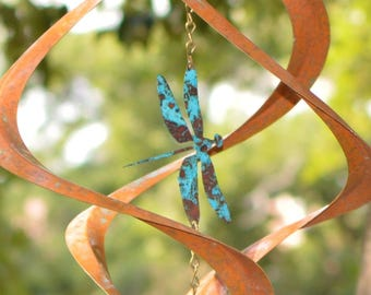 BreezeWay Dragon Fly Wind Spinner |Copper|Hanging Spinner|Boho Copper|Porch Décor|7th Anniversary Gift|Wind Chimes|Garden Spinner|Windmill