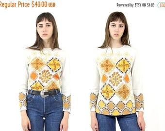 SUMMER SALE Vtg 70s Psychedelic Long Sleeve Tunic SZ Xs Small