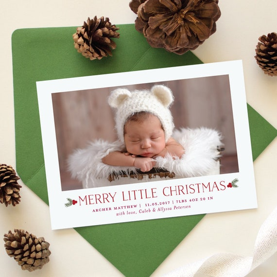 Baby's First Christmas Card, Merry Little Christmas Birth Announcement, Holiday Cards for Winter Baby with Newborn Photo | Little Christmas
