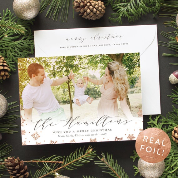 Copper Foil Christmas Cards, Personalized Christmas Card with Family Photo and Copper Foil Snowflakes, Elegant Holiday Cards | Scripted Name