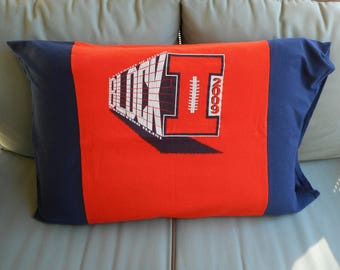 University Illinois U of I Chief Illini Pillowcase college bedding Upcycled recycled T-shirt Pillow Cover graduation gift for him