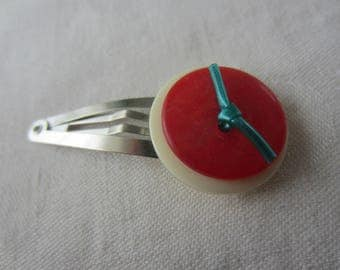 Silver Barrette made with two buttons red and white and blue scoubidou