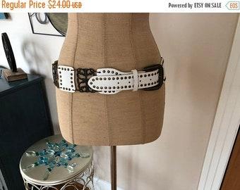 Large Vintage White Leather and Metal Link Ladies Belt
