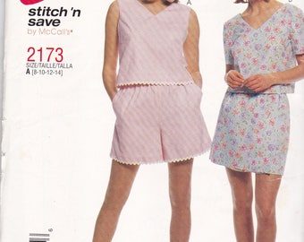 McCalls 2173 Vintage Pattern Womens Top, Shorts and Skort Size 8,10,12,14 UNCUT