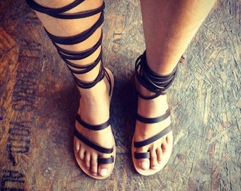 15% OFF The Gladiator - Brown Natural Leather Sandals Unisex - Design 43 - Handmade Leather, Casual Leather Flats, Genuine Leather Sandals