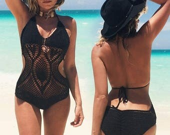 JUNE SALE Vintage 1970's Black CROCHET Monokini Cut Out One Piece Swimsuit And Top || Size Xs to Small