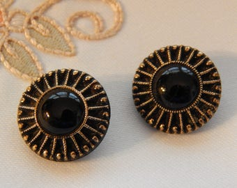 Black Glass with Gold Luster Dots and Lines - Vintage Button 2