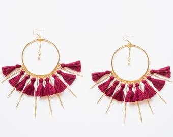 Summer Outdoors 4th July Summer Party Tassel Earrings Hoop Earrings Tassel Hoop Earrings For Her Tassel Jewelry Statement Earrings / TASSERA