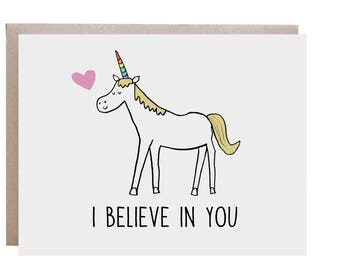 Unicorn Card, Encouragement, Good Luck Card, Unicorn, I Believe in You, Congratulations
