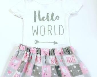 Hello World Newborn Girl Outfit, Hello World Outfit, Newborn Girl Coming Home Outfit, Going Home Outfit Girl, Newborn Girl Take Home Outfit