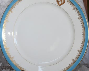 E. Bourgeois Paris Rue Drouot Antique China Plate Made in France with Gold Insignia