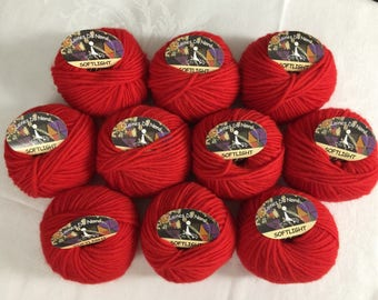 Yarn Red Merino Wool Nylon  Bulky Weight | Lot of 10 Yarn Destash |  Laines du Nord Soft Light | Italy