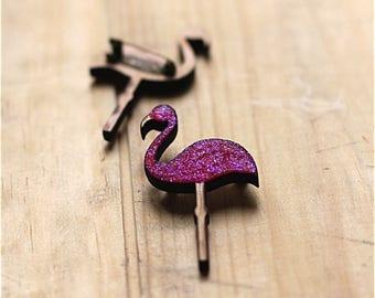 Brooch pink flamingo glitter