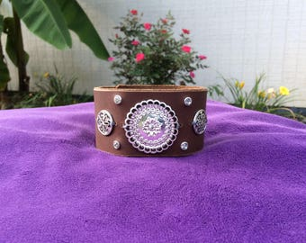 Brown Leather Cuff with Silver and Rhinestone Design