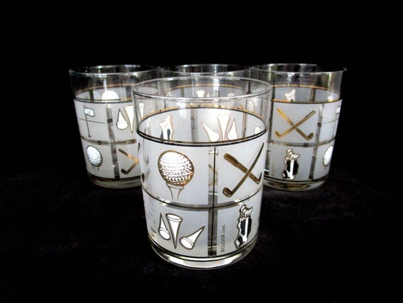 Culver Barware, Golf Lowballs, Set of 4 Double Old Fashioneds, Frosted Glass, Gold, Golf Tees, Clubs, Golf Bag, Golf Balls, Gift for Golfer