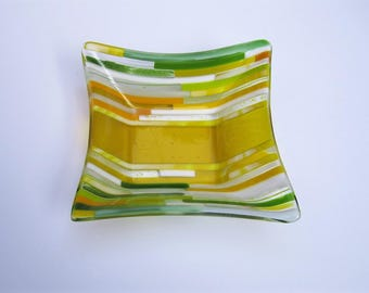 Yellow Transitions Fused Glass Bowl
