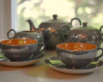 Lusterware Tea Set For Two Takito T & T Japan Hand Painted Teal and Peach