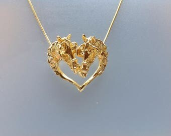 Driving horses w/ harness gold  plated pendant & chain horse jewelry