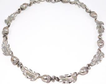 Vintage Ornate Danecraft Sterling Necklace Acorns