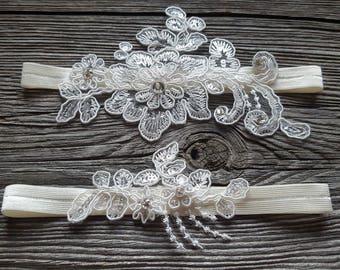 Ivory Floral Wedding Garter Set
