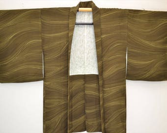 HAORI JACKET G47a - Dark Khaki Brown Gradation Wavy Tsunami