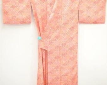 KIMONO C17a - Charming Pink Orange Dotty Chrysanthemum