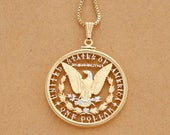 "American Bald Eagle Pendant and Necklace, Hand Cut United States Morgan Dollar, American Eagle Jewelry, 1 1/2"" in Diameterm ( # 325 )"