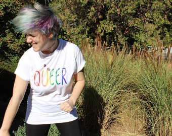 Queer T-Shirt • Unisex Medium • Rainbow Font • Special First Fun Discount!