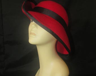 Red and Black Cloche