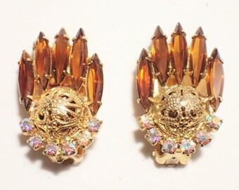 Juliana D&E Filigree Ball and Topaz Navette Rhinestone Earrings Book Piece