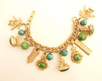 Oriental Asian Theme Charm Bracelet with Fob Style Charms