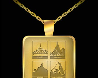Disney Mountains are Calling Rides Gift Necklace Disneyland (Choice of Metal)