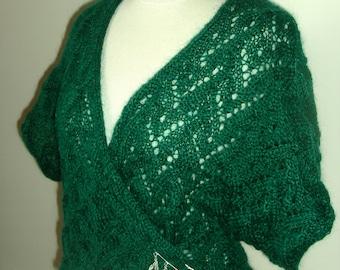Pull ou gilet cache-coeur, tricoté main, pour femme, en kid mohair vert sapin