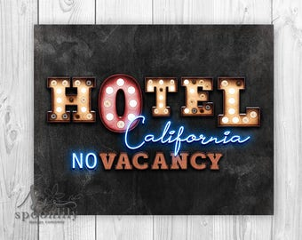 Hotel California Art Print, MAN Cave Sign, Hotel California Poster, Masculine Decor, Hotel California Sign, Masculine Wall Art, Gift for HIM