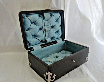 Antique Victorian Jewelry Sewing Box Wood Leather Covered w Silk Tufted C 1880