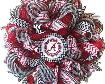 University of Alabama Deco Mesh Wreath - Bama Wreath - Crimson Tide Wreath - Football Wreath