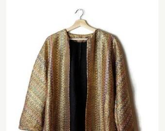 ON SALE Vintage Gold/Multi color Stripe  marled Cardigan /Jacket from 90's*