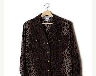 ON SALE Vintage Leopard printed Pure Silk Long Sleeve Slouchy Blouse  from 90's*